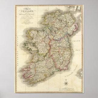 Mapa de Irlanda Póster
