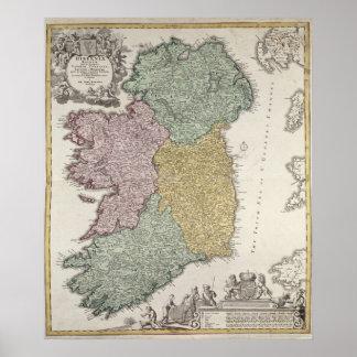 Mapa de Irlanda que muestra las provincias de Ulst Poster