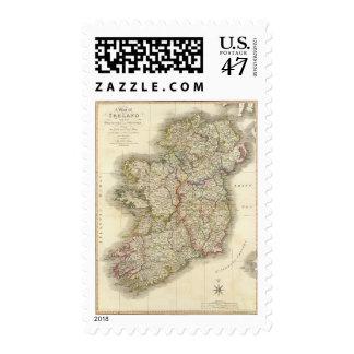 Mapa de Irlanda Timbres Postales