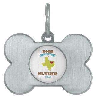Mapa de Irving, Tejas - casero es donde está el co Placa De Mascota