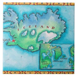 Mapa de Islandia Azulejo Cuadrado Grande