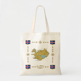 Mapa de Islandia + Bolso de las banderas Bolsas