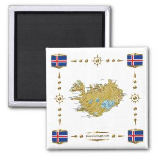 Mapa de Islandia + Imán de las banderas