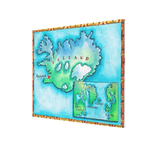 Mapa de Islandia Impresión En Lona