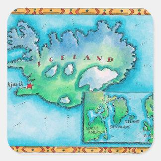 Mapa de Islandia Pegatina Cuadrada