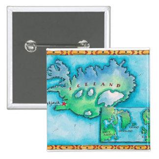 Mapa de Islandia Pin Cuadrado