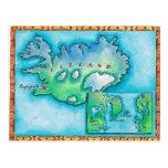 Mapa de Islandia Tarjeta Postal