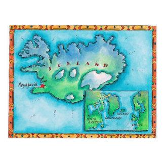 Mapa de Islandia Tarjetas Postales