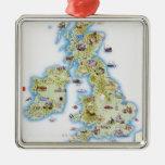 Mapa de islas británicas adorno de reyes
