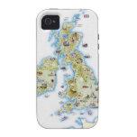 Mapa de islas británicas Case-Mate iPhone 4 carcasas
