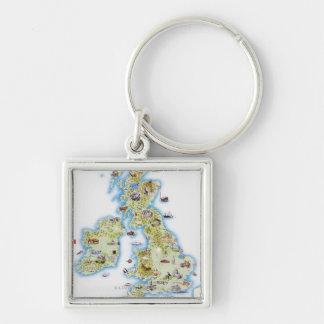Mapa de islas británicas llaveros