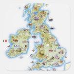 Mapa de islas británicas pegatina cuadrada