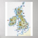 Mapa de islas británicas póster
