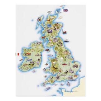 Mapa de islas británicas tarjeta postal