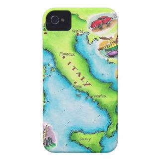 Mapa de Italia 2 Funda Para iPhone 4 De Case-Mate