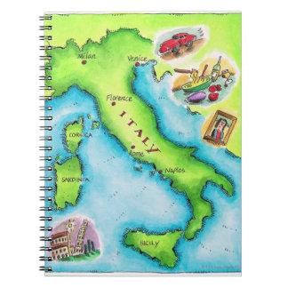 Mapa de Italia 2 Libreta Espiral