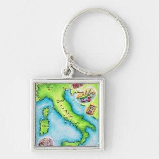 Mapa de Italia 2 Llavero Cuadrado Plateado