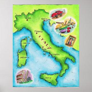 Mapa de Italia 2 Impresiones