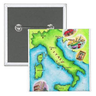 Mapa de Italia 2 Pin Cuadrado