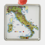 Mapa de Italia Adorno Cuadrado Plateado