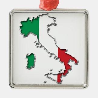 Mapa de Italia Adorno Navideño Cuadrado De Metal