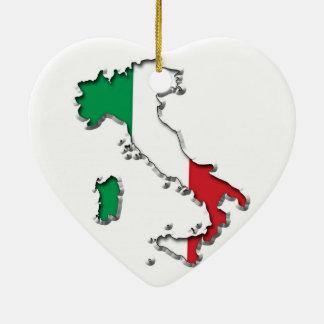Mapa de Italia Adorno Navideño De Cerámica En Forma De Corazón