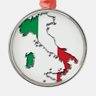 Mapa de Italia Adorno Navideño Redondo De Metal