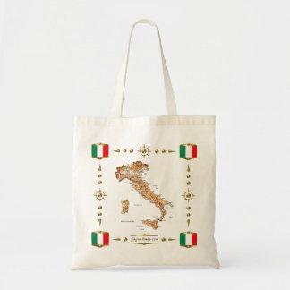 Mapa de Italia + Bolso de las banderas Bolsa Tela Barata