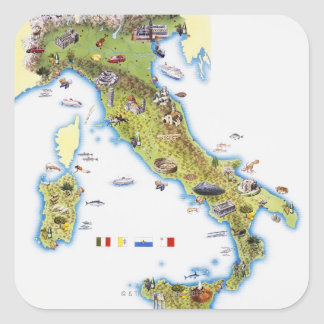 Mapa de Italia Calcomanias Cuadradas