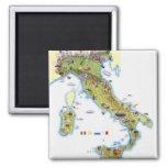 Mapa de Italia Imán Cuadrado