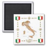 Mapa de Italia + Imán de las banderas
