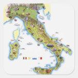Mapa de Italia Pegatina Cuadrada