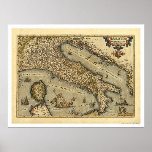 Mapa de Italia por Ortelius 1570 Póster