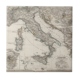 Mapa de Italia por Stieler Azulejo Cuadrado Pequeño