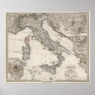 Mapa de Italia por Stieler Póster