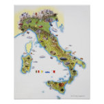 Mapa de Italia Póster