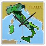 Mapa de Italia Reloj De Pared