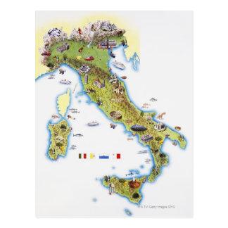 Mapa de Italia Postales