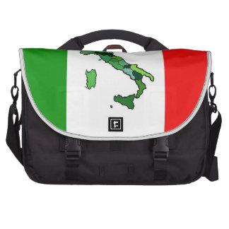Mapa de Italia y de la bandera italiana Bolsas Para Ordenador