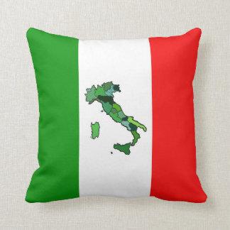 Mapa de Italia y de la bandera italiana Cojín