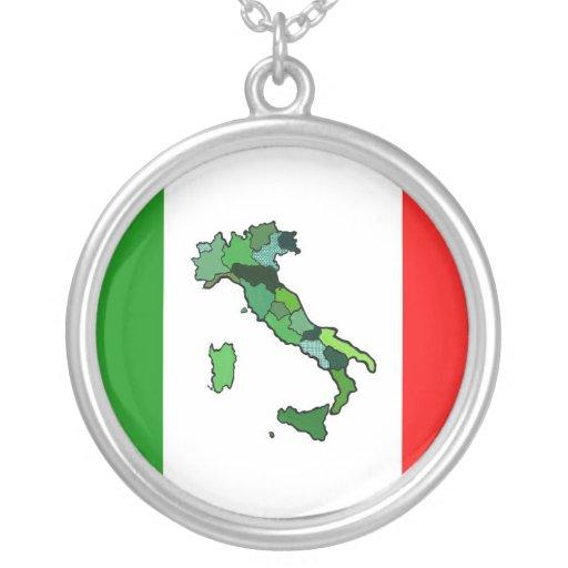 Mapa de Italia y de la bandera italiana Colgante Redondo