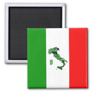 Mapa de Italia y de la bandera italiana Imán Cuadrado
