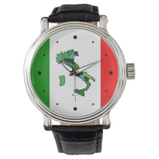Mapa de Italia y de la bandera italiana Reloj
