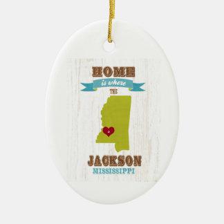 mapa de Jackson, Mississippi - casero es donde Adorno Ovalado De Cerámica