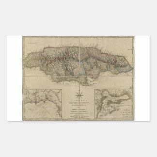 Mapa de Jamaica (1775) Pegatina Rectangular