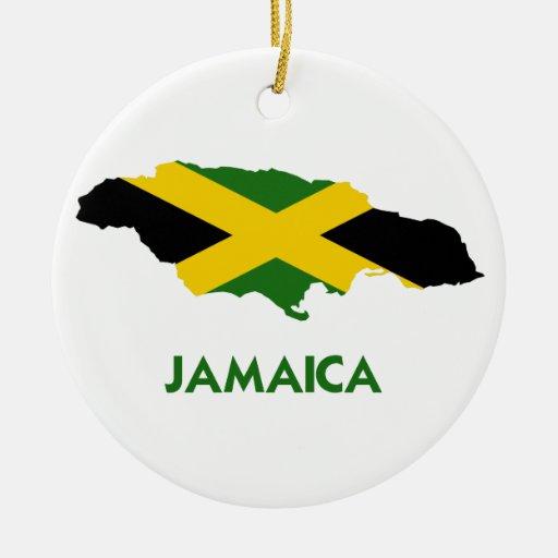 MAPA DE JAMAICA ADORNO NAVIDEÑO REDONDO DE CERÁMICA