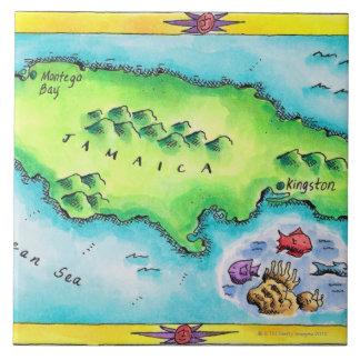Mapa de Jamaica Azulejo Cuadrado Grande