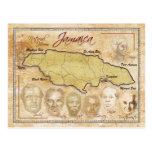 Mapa de Jamaica con los héroes nacionales