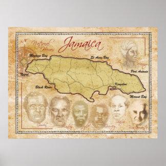 Mapa de Jamaica con los héroes nacionales Posters
