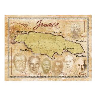 Mapa de Jamaica con los héroes nacionales Postales